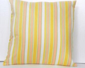 Yellow Stripe Throw Pillow Cover Orange, Green, White, 18 x 18 inch with zipper closure, Bedroom, Sofa, Nursery