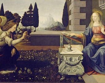 Leonardo da Vinci - Annunciation - High Quality Art Print Poster - Reproduction Print - Vintage style - 12×16 inch size