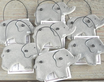Elephant Party Baby Shower Favors Salt Dough Ornaments Set of 10