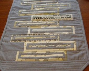 Modern Quilted Table Runner, Reversible, Between the Lines SALE