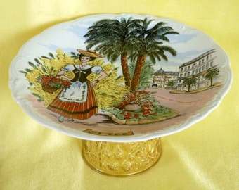 Cake stand, French Nice motif, dessert stand, cookie server, appetizer plate, cupcake stand, serving plate, yellow, green