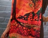 River Sunrise    - Silky faille scarf  or shawl  -  from original batik - women's fashion