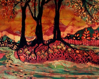River Sunrise - Lothlorien -  Large Giclee print from original batik -  The Hobbit -
