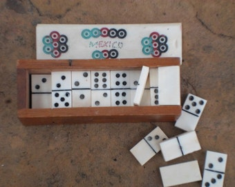 Vintage Mexican Mini Domino Toy Set