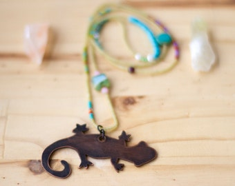 Gecko Totem Bohemian Beaded Necklace