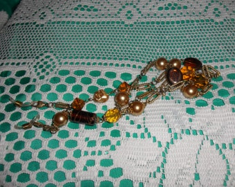 Authentic Vintage Glass Gold Eyeglass Lanyard And Necklace