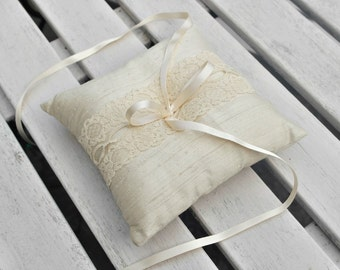 Wedding Ring Bearer Pillow/Cushion in Champagne  Raw Silk With a Strip of Champagne Vintage Lace