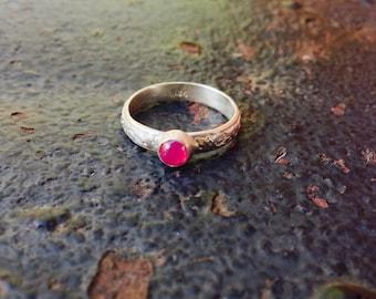 Pink Spinel Bezel Setting Sterling Silver Floral Ring SIZE 6.5
