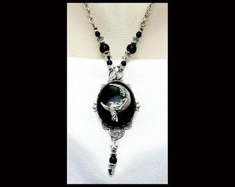 Victorian Black Onyx Celestial Moon Goddess Stars Pendant Necklace