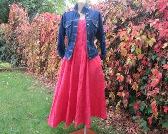 Cotton Dress Vintage / Pink / EUR 42 / UK14 / Side Pockets