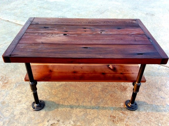 Reclaimedwoodgoods Small Industrial Coffee Table With Shelf 32 W X 20 D X 18 H
