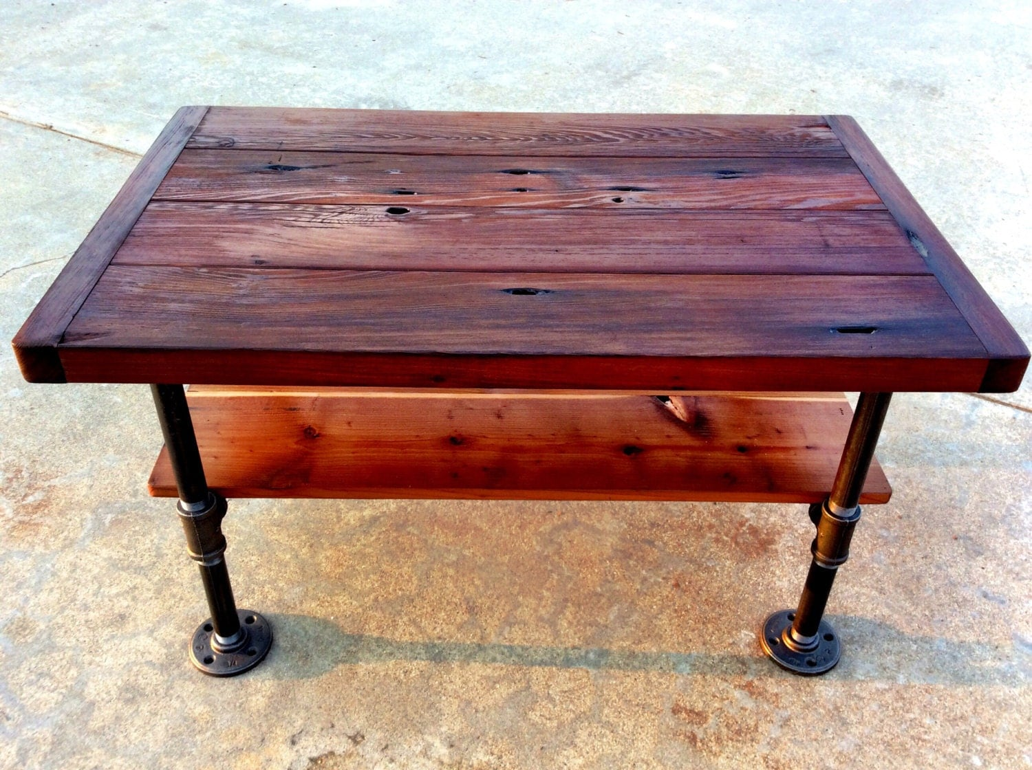 Small Industrial Coffee Table With Shelf 32 By Reclaimedwoodgoods