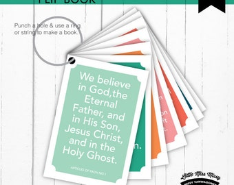 Flip Book, The Articles of Faith , LDS Gospel ABZs, FHE Lessons, 4.25x5.5, Instant Downloads by Little Miss Missy