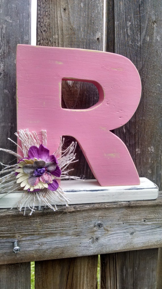 Shabby chic letter R, shelf sitter