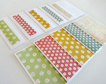 Blank Note Cards, Set of 5 Blank Note Cards with Matching Envelopes, Note Card Set, Thank You Notes, Blank Cards, Stationary, Polka Dots