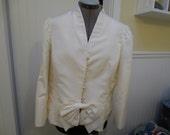 Vintage Teri Jon Ivory 100 percent Silk Wedding Jacket Size 16