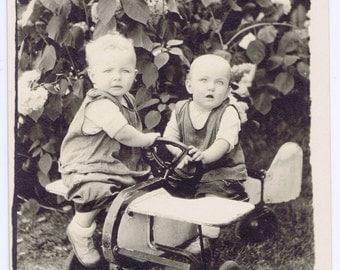 Antique Vintage Little Children Playing Toy Airplane Photograph 20th century Paper Ephemera
