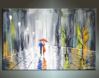 Cityscape Painting,   Landscape painting, HUGE Original DEEP Artist Canvas  Textured Palette Knife Painting,   Ready to Hang