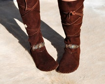 Plains Indian moccasin boots with rubber sole