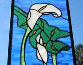"""Original Design Stained Glass Panel of a Calla Lily 13 3/8"""" x 8"""""""