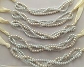 Cluster ivory and white pearl necklave with clear crystals - bridesmaid necklace - wedding jewelry