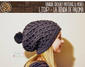 INSTANT DOWNLOAD - Crochet Waffle Gaufre Slouchy Hat
