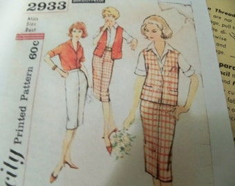 1959 Simplicity 3070 Size 20 Slenderette Womens Blouse Skirt Jacket Notched Colla, Sewing Pattern Supply Rockabilly 50s Jacket Pattern c