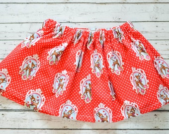 Toddler Girl Retro Red Deer Circle Skirt 4T