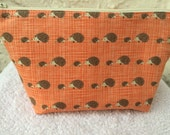 Orange or Blue Cute Hedgehogs Makeup Bag Cosmetic Bag Toiletry Bag Knitting Project Bag Crochet Project Bag