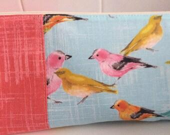 Blue Pastel Birds Large Makeup Bag, Cosmetic Bag, Toiletry Bag, Knitting Project Bag, Crochet Project Bag, Bridesmaid Gift