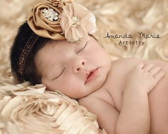 Newborn champagne headband, rhinestone headband, antique headband, brown headband, baby headband, girls headband, glitter infant headband