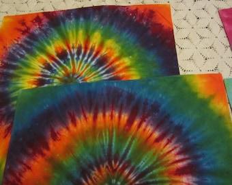 "Tie dye bandana- bright rainbow spiral,""Feed your inner hippie""- 350"