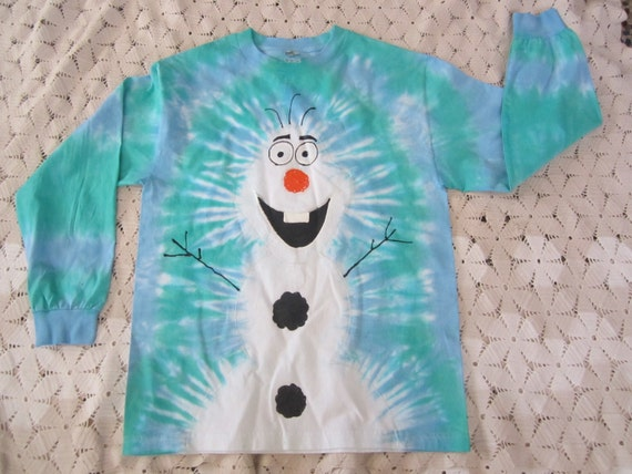 """tie dye long sleeve shirt, Snowman inspired by """"Olaf""""- Adult Medium- Only one left, get it now!! - 450"""
