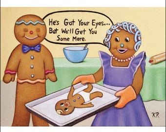 ACEO art print gingerbread man woman child baby cookies miniature limited 25 edition signed by Karen Romine free shipping family