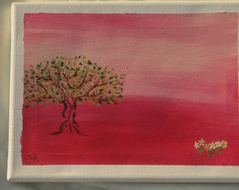 African sunset with acacia tree, acrylic on canvas