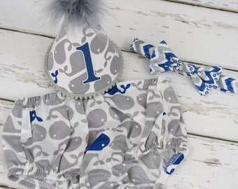 Boys First Birthday Cake Smash Diaper Cover Bow Tie Party Hat in Gray and Navy Whales