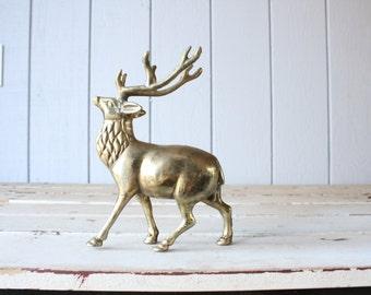 Vintage Large Brass Elk // Solid Brass