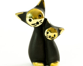 "Walter Bosse Cats - Brass ""Black Gold"" Pair of Mom and Baby Kitten Figurine — ""Katzenpaar"""