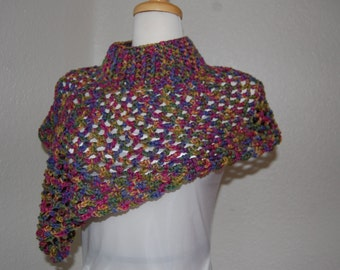 Crochet  Neckwarmer Asymetrical in Multicolor