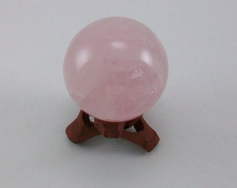 Rose Quartz Crystal 50mm Sphere with Free Hand Carved Rosewood Sphere Stand