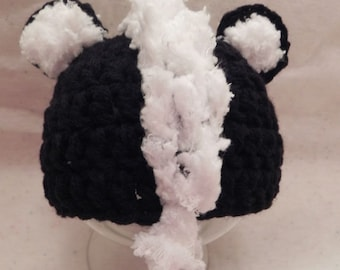 Newborn Skunk Hat SALE Ready to Ship Only ONE AVAILABLE