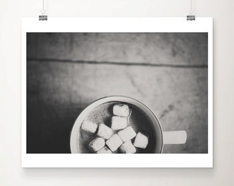 food photography hot chocolate photograph marshmallow photograph kitchen wall art black and white photography rustic decor
