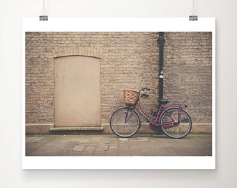 maroon bicycle photograph purple bike photograph purple bicycle print cambridge photograph cambridge print urban photograph