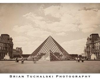 The Louvre Pyramid, Photo Print, Paris, France, Art, Museum, Sepia, Antiqued, Europe, Desaturated, Vintage, Glass