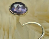 IOLITE, Water Sapphire, 4mm, nose jewelry, nose stud, nose ring, nose screw, Sterling Silver, faceted