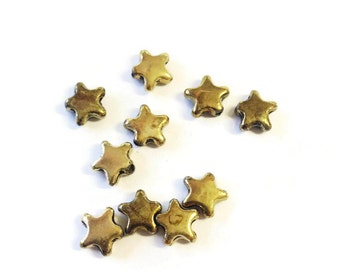 Antique Gold Stars Charms Star findings star beads 5pcs   P 30 046