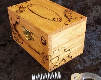Steampunk wood burned box, gears box, treasure box, jewelry box, ring box, crystal box, wood burned gears, wood burned steampunk