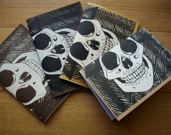 Screen Printed A5 hand-sewn Notebook Skulls