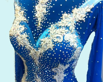 Blue Ballroom Dance  Dress with Feathers