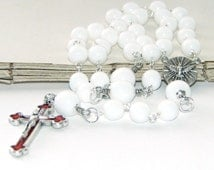 Confirmation Rosary, 3-Decade White Glass Catholic Rosary with Confirmation Medal Center and Red Inlay Crucifix, RCIA Rosary